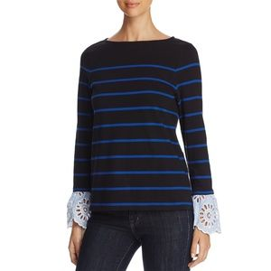Long Sleeve Striped Top with Lace Cuffs